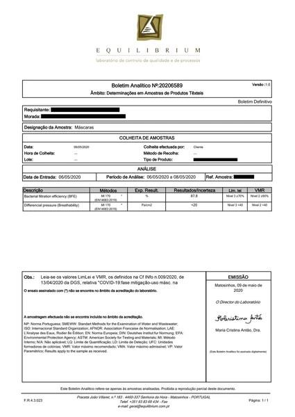 Certificado Mascarilla Covid-19