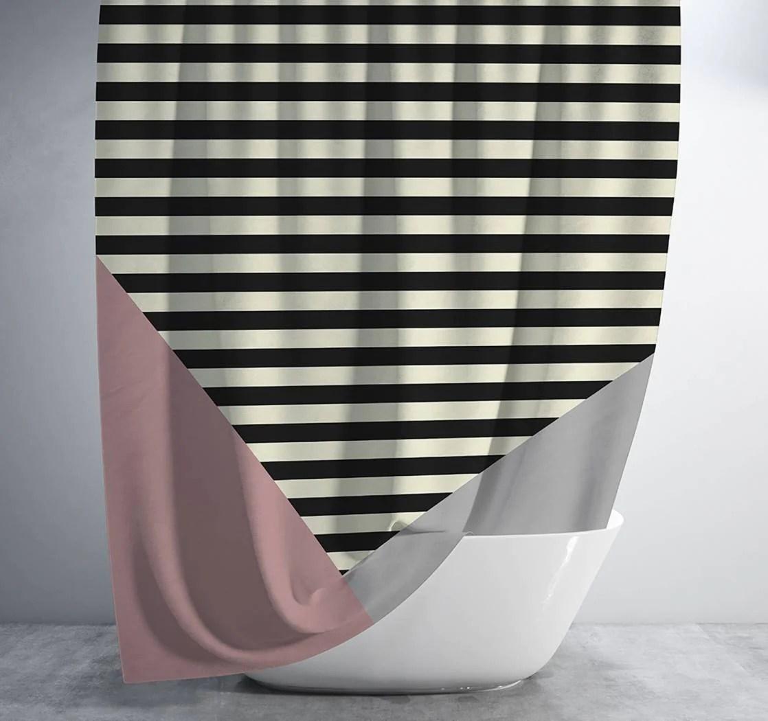 pink grey and black geometric striped shower curtain standard 70x70