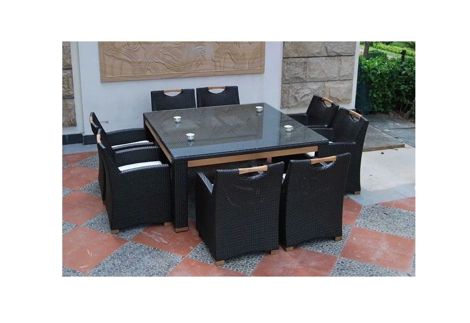 freedom 8 square 9pc glass top and teak trim outdoor dining set with wicker chairs