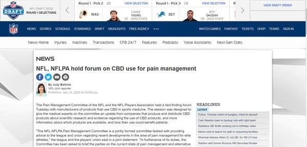 CBD for pain NFL FORUM