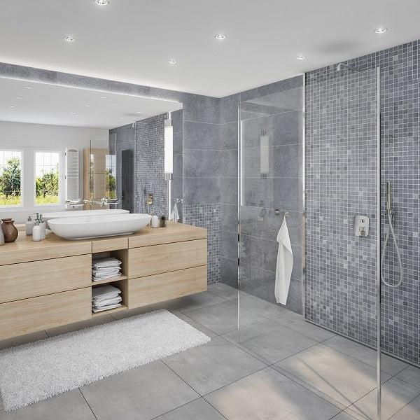 large roman tile blue grey 1m shower wall panelling