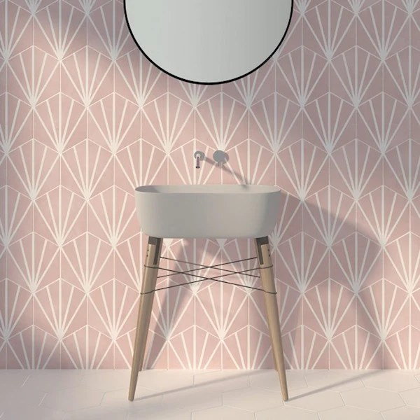 pink hex water lily tiles 19 8x22 8cm