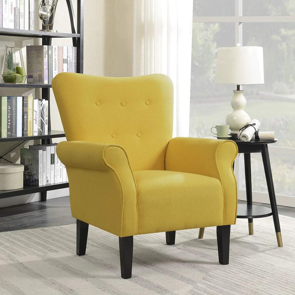 Belleze Modern Accent Chair Roll Arm Linen Living Room