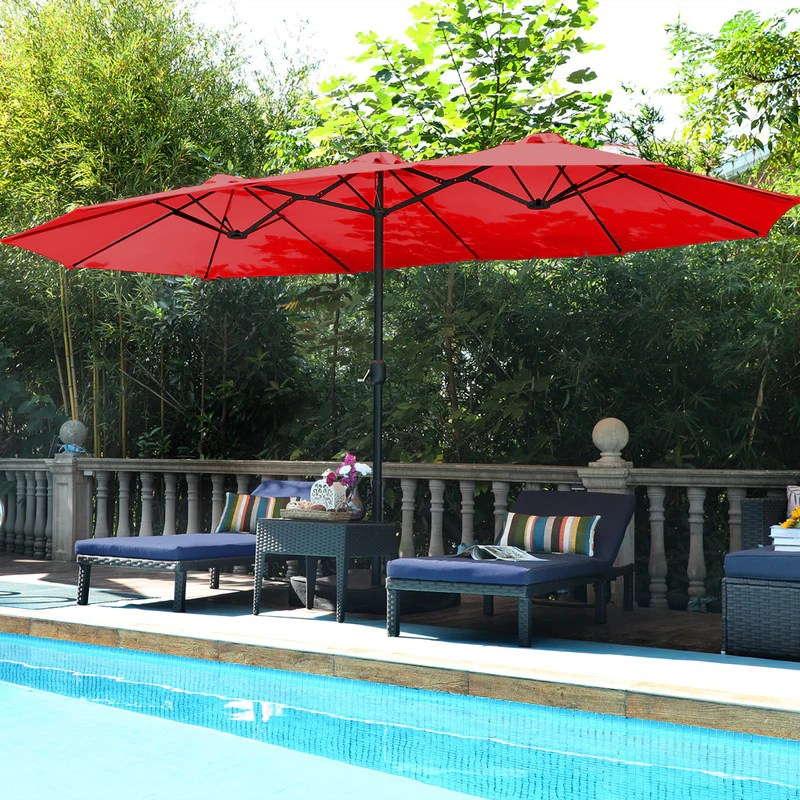 phi villa 15ft double sided extra large patio twin umbrella