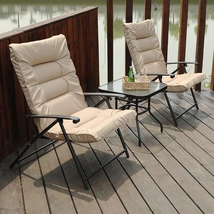 PHI VILLA Patio Padded Folding Chair 3 PC Adjustable Reclining Bistro Set - Beige
