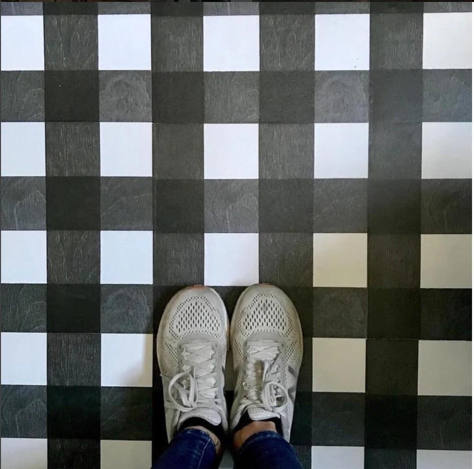 black gingham peel stick decorative floor decals