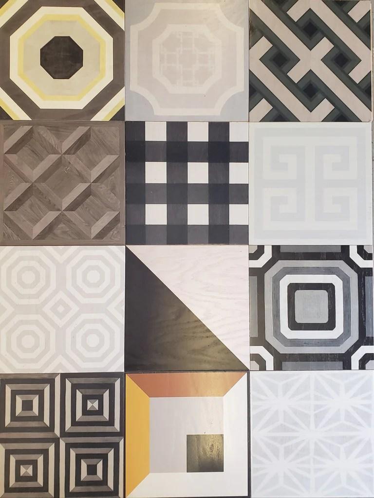 greek key patchwork hardwood tiles lot