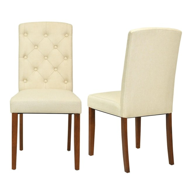 Set Of 2 Fabric Wood Accent Dining Chair Tufted Modern ...