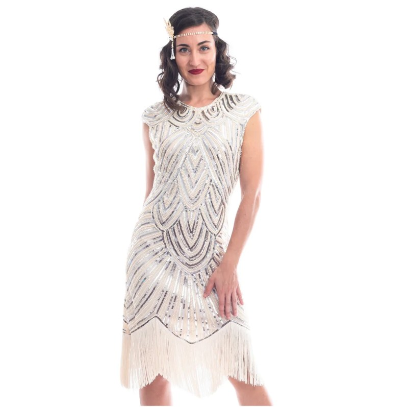 1920s Ivory Beaded Vintage Mable Flapper Dress
