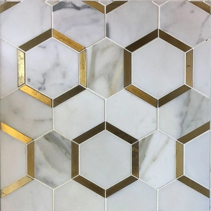 calacatta gold marble brass hexagon polished mosaic tile
