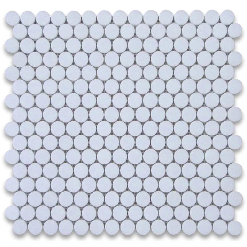 thassos white marble penny round polished mosaic tile