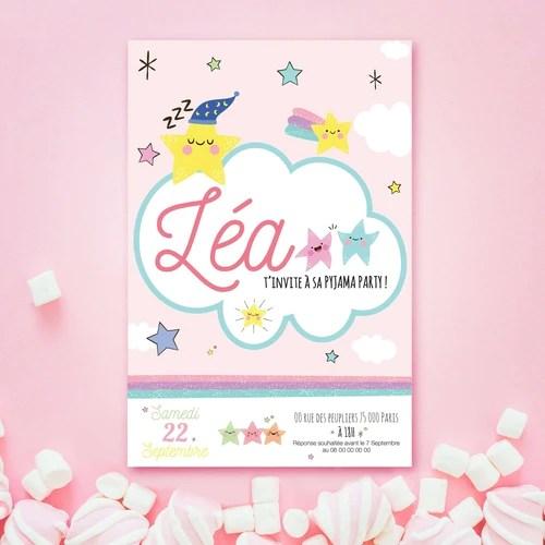 cartons invitation pour soiree pyjama de votre enfant theme nuit etoilee