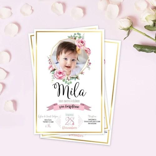 faire part bapteme pour votre enfant bebe theme princesse fleurs et or