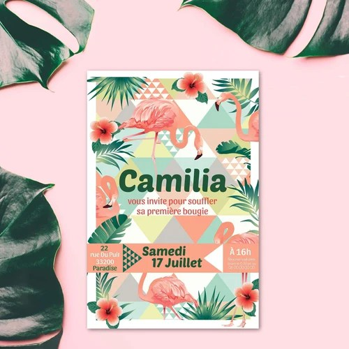 invitation anniversaire fille invitation anniversaire flamant rose theme tropical carte invitation anniversaire