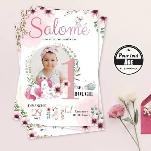 invitation anniversaire licorne foret enchantee pour fille carton invitation personnalise avec la photo de votre enfant