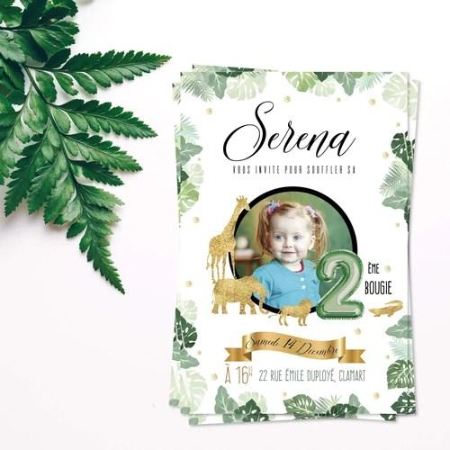 invitation anniversaire safari savane pour garcon et fille carton invitation personnalise avec la photo de votre enfant