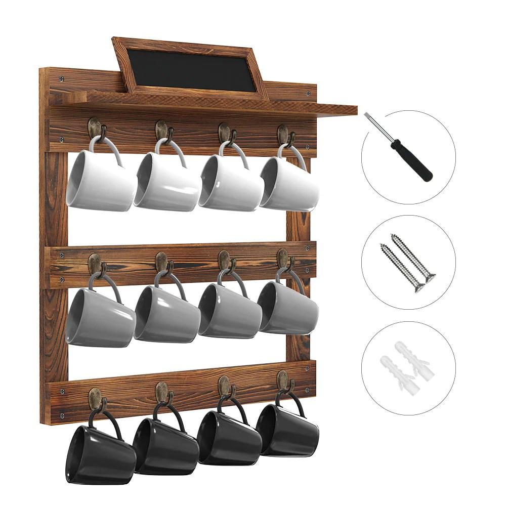 greenstell wall mounted coffee mug rack with chalkboard 12 hooks brown