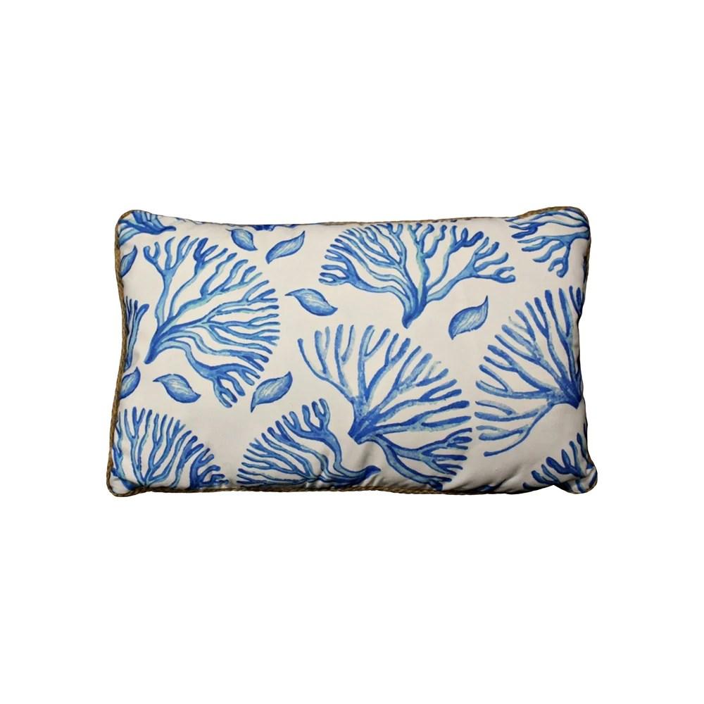 coral blue rectangle cushion