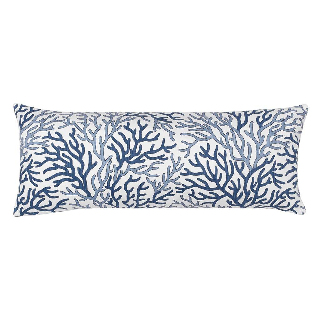 the blue and navy reef extra long lumbar throw pillow