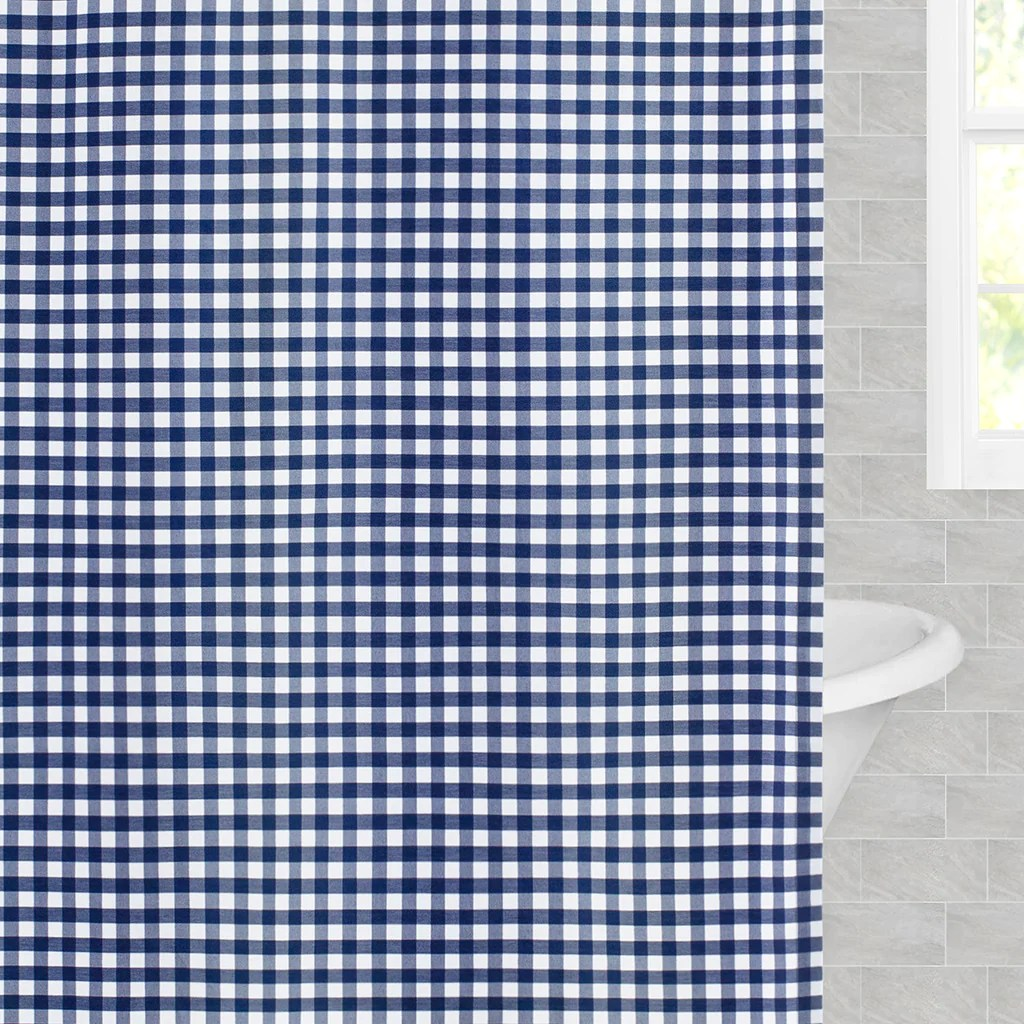 navy blue small gingham shower curtain
