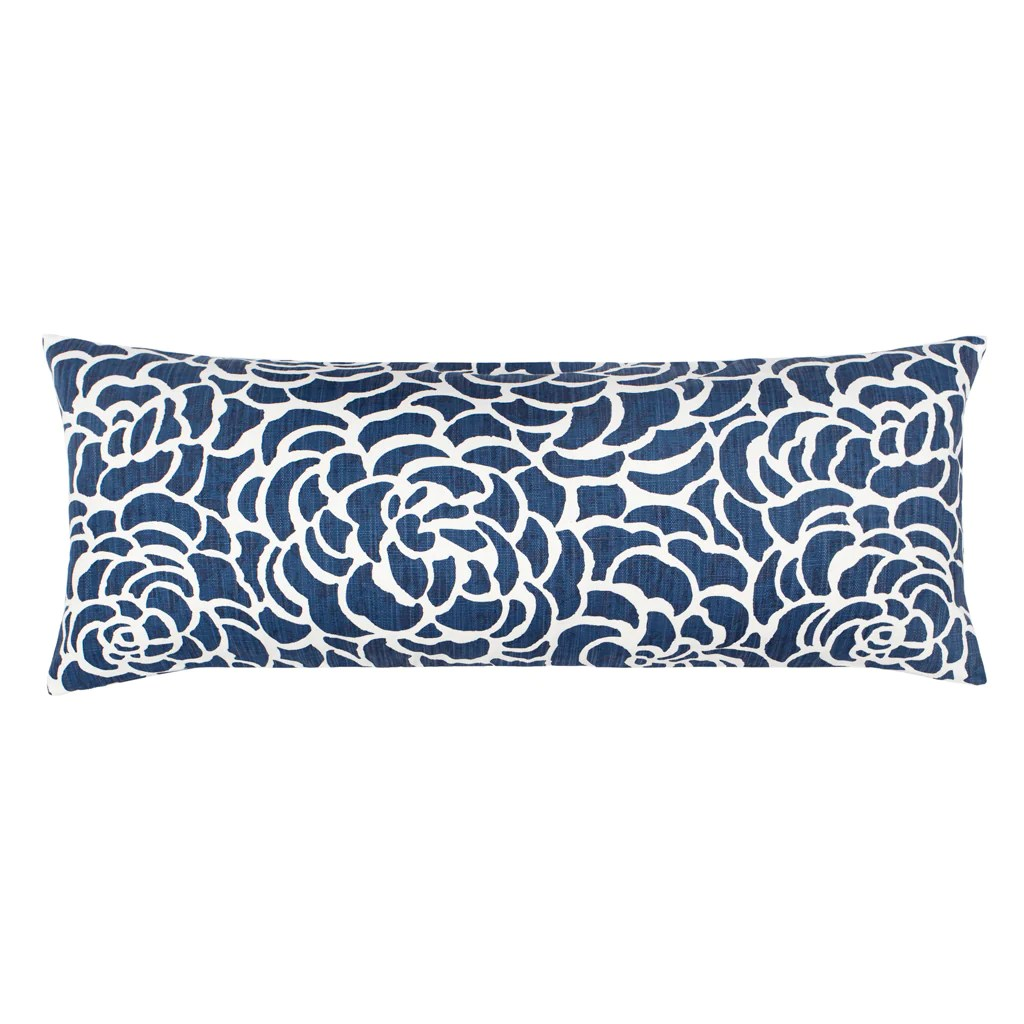 the navy peony extra long lumbar throw pillow