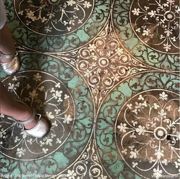 aragon damask tile wall stencil
