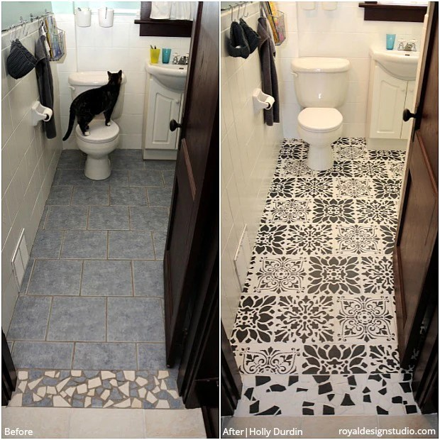 painting tile floors before and after