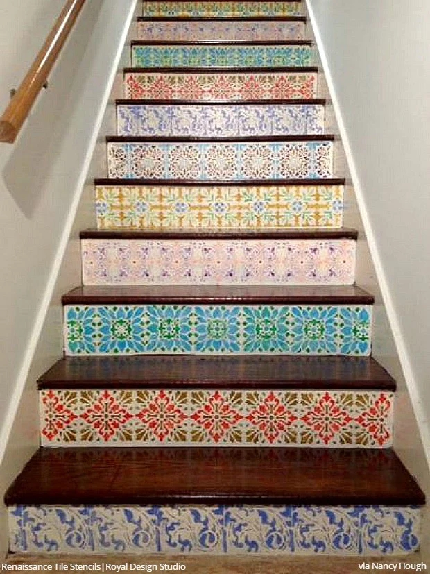 12 Stencil Ideas For Your Stairs Paint Stair Risers With Diy | Wood Stairs With Tile Risers | Grey | Diy | Design | Mosaic | Stone
