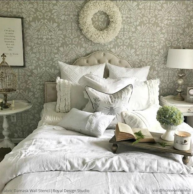 Bedroom Decor Country Master Bedroom Decorating Ideas Dark Furniture Glitter Wallpaper Bedroom Silver Accent Wall Bedroom: Damask Walls Bedroom