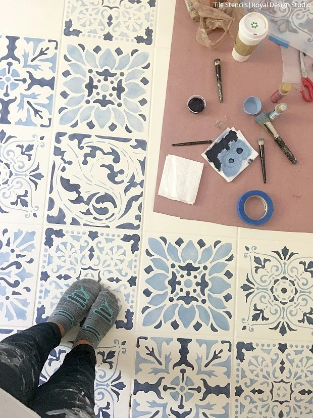 how to stencil a tile floor in 10 steps