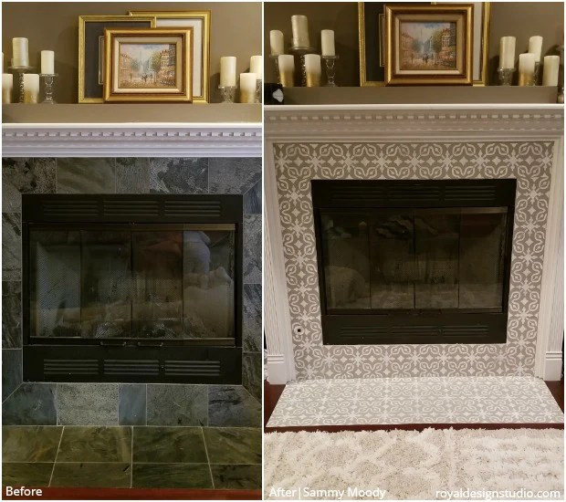 stencils for painting fireplace tiles