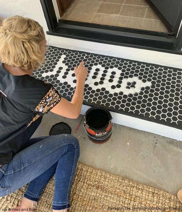 hexagon floor tile stencils for