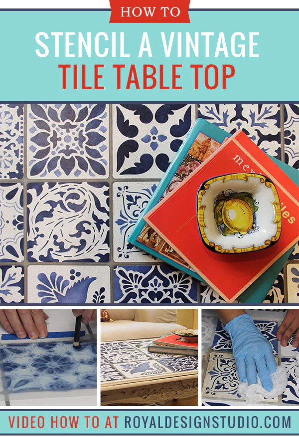 vintage tile table top with chalk paint
