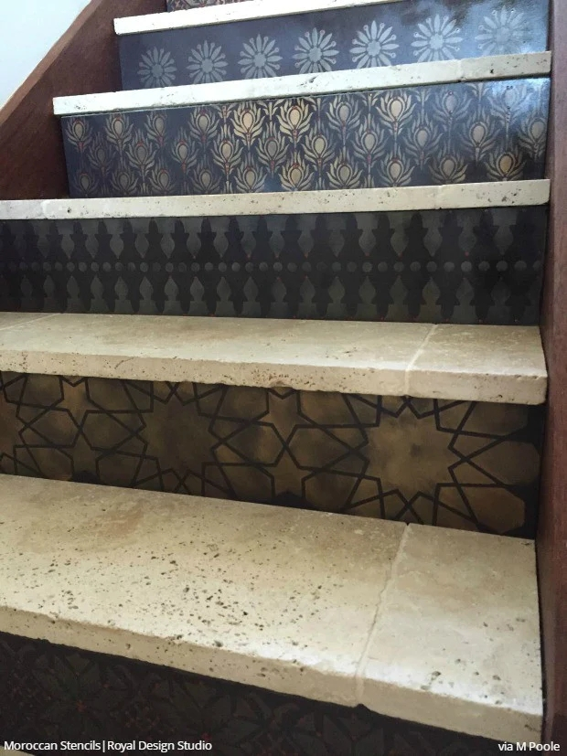12 Stencil Ideas For Your Stairs Paint Stair Risers With Diy   Wood And Tile Stairs   Rocell Living Room   Tile Floor   Basement   Quarter Round Stair Hardwood   White