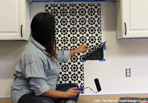 to stencil a kitchen tile backsplash
