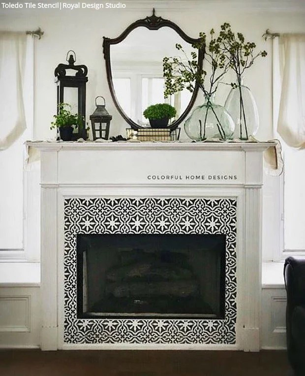 paint your fireplace tiles