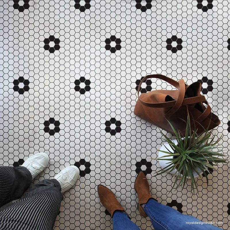 Penny Tile Stencils Hexagon Shape Tiles Floor Stencils