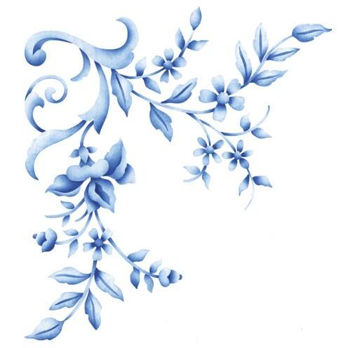 Flower Stencils Floral Embroidery Corner Royal Design