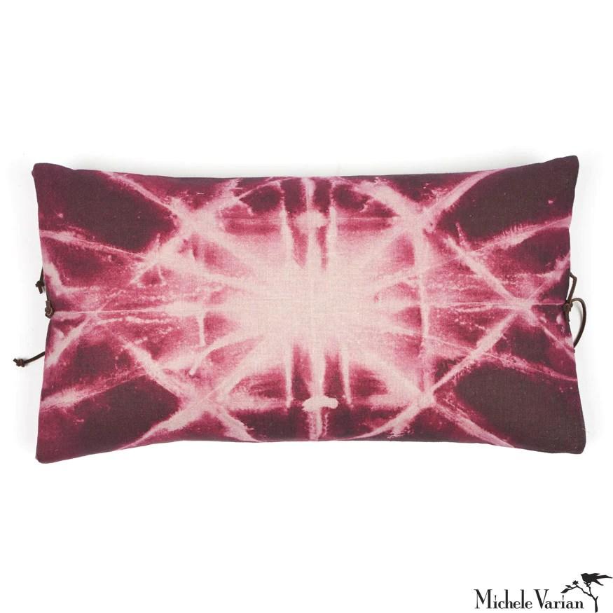 printed linen pillow starburst plum 12x22