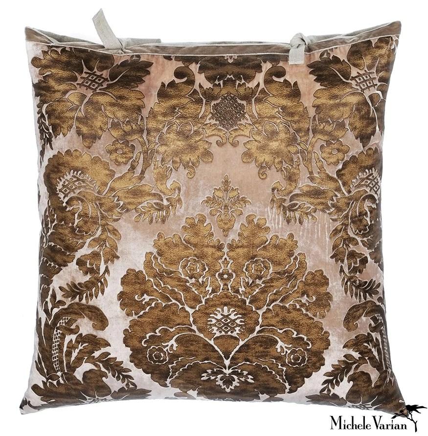printed velvet pillow tapestry beige 26x26