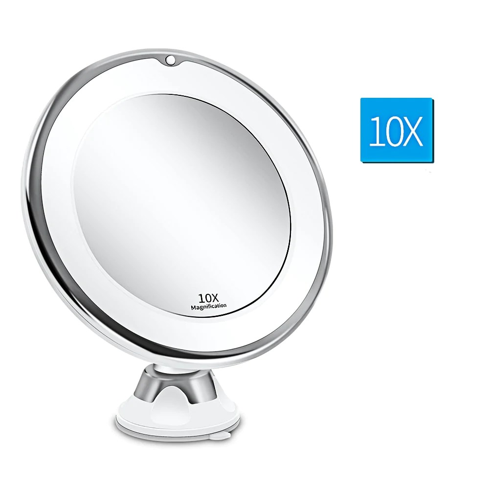 Miroir Maquillage Grossissant X10 Lumineux Led Naturelle Avec Ventouse Oneaday