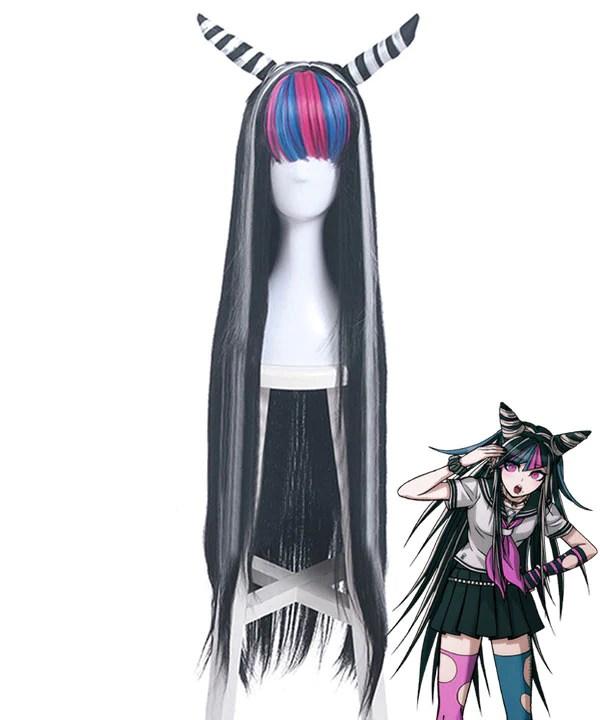Danganronpa 2: Goodbye Despair Ibuki Mioda Black White Cosplay Wig - Wig + Horn