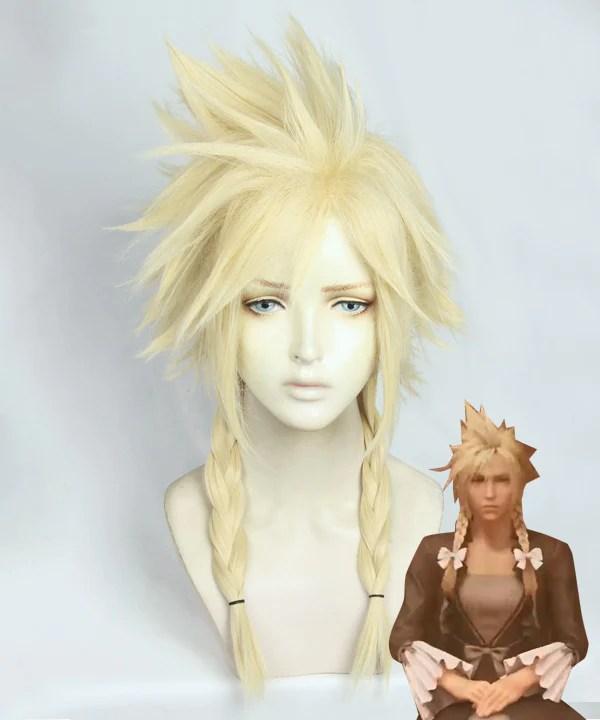 Final Fantasy VII Remake Cloud Strife Girl Ver 2 Golden Cosplay Wig