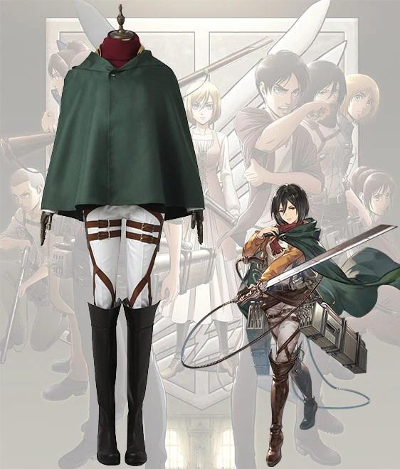 Attack On Titan Shingeki No Kyojin Mikasa Akkaman Mikasa Ackerman Battle Uniform Cosplay Costume