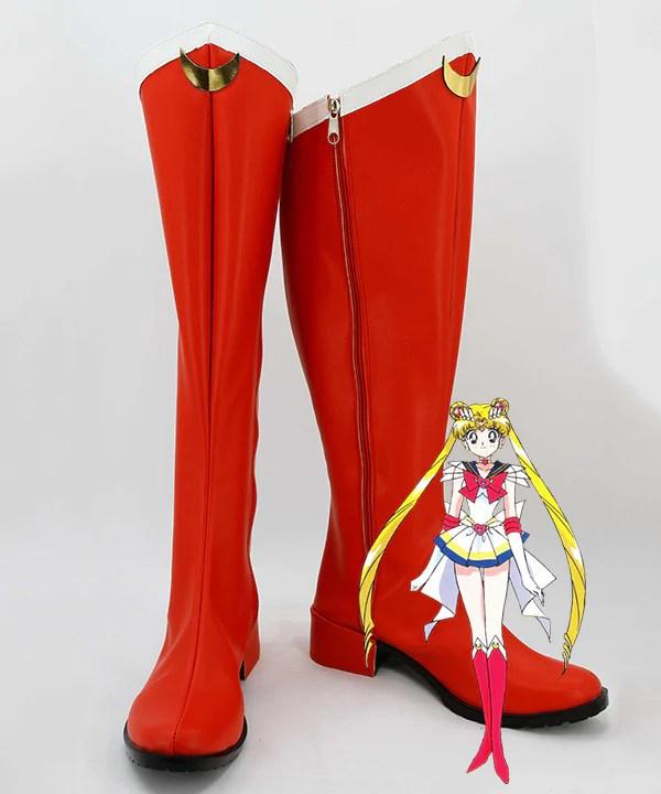 Sailor Moon Usagi Tsukino Red Shoes Cosplay Boots
