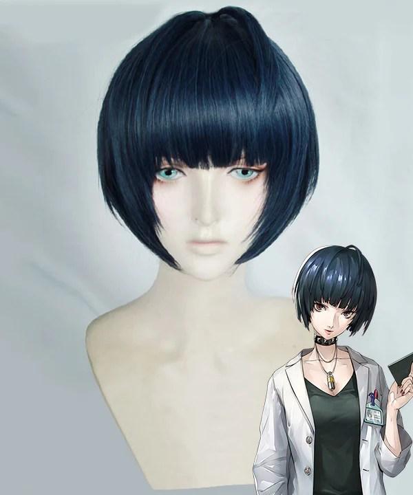 Persona 5 Tae Takemi Deep Blue Cosplay Wig