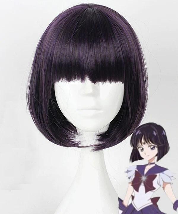 Sailor Moon Hotaru Tomoe Sailor Saturn Black Purple Cosplay Wig