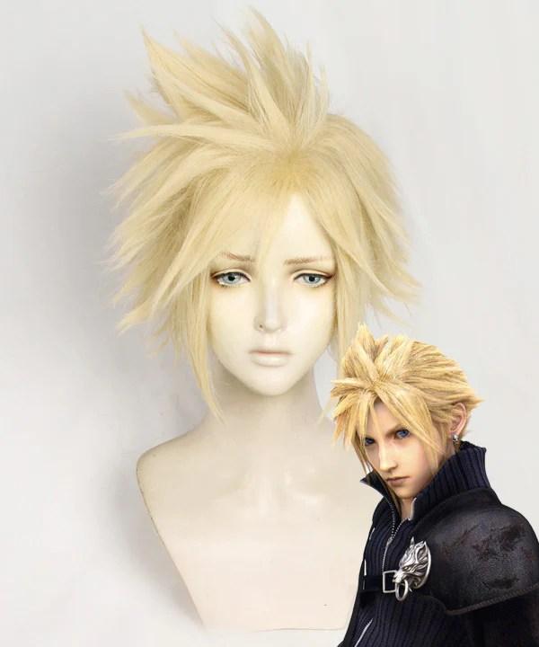 Final Fantasy VII FF7 Cloud Strife Golden Cosplay Wig