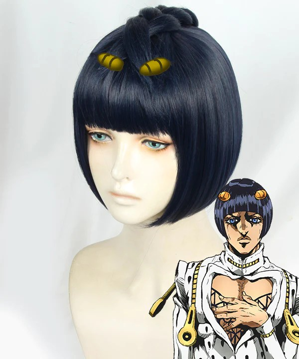 JoJo's Bizarre Adventure: Vento Aureo Golden Wind Bruno Bucciarati Black Blue Purple Cosplay Wig