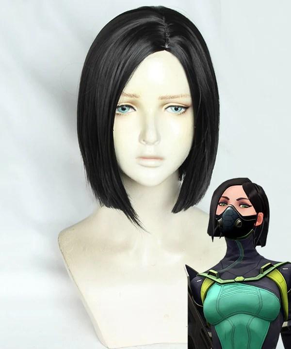 Valorant Viper Black Cosplay Wig
